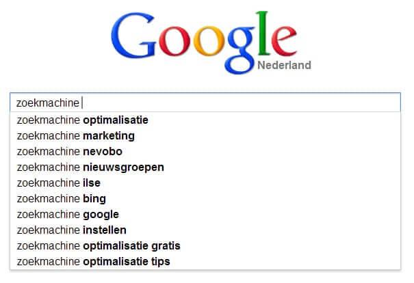 Google zoekwoorden suggesties